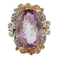 Amethyst, Diamonds,Tourmalines,Tsavorites,Iolite, 14 Kt White and Rose Gold Ring
