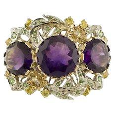 White Diamonds, Yellow Sapphires, Tsavorite, Amethysts 14k White and Rose Gold Ring