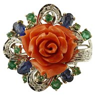 Diamonds, Emeralds and Blue Sapphires, Coral, 14k White Gold Vintage Ring