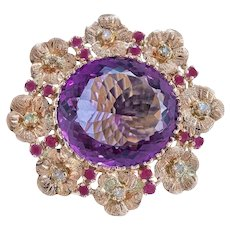 Handcrafted Ring Amethyst Rubies Diamonds Rose Gold