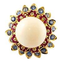 Pink Coral, Diamonds, Sapphires, Rubies, 14k Rose Gold Vintage Ring