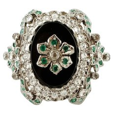 Onyx, Emeralds, White Zircons, Rose Gold and Silver Vintage Ring