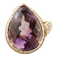 Big Amethyst Drop, Diamonds, 18k Yellow Gold Ring
