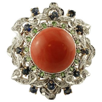 Diamonds,Blue Sapphires, Tsavorite, Coral 14k White and Rose Gold Vintage Ring