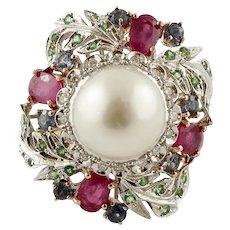 South Sea Pearl, Diamonds, Rubies, Sapphires, Tsavorites, Yellow and White Gold Retro Ring