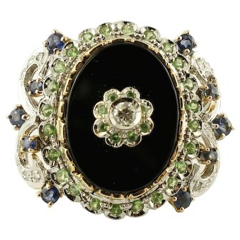 Diamonds, Colored Sapphires, Tsavorite, Onyx, 14k White and Rose Gold Vintage Ring