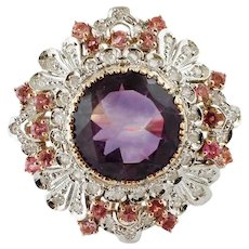 Central Amethyst, Diamonds, Tourmaline, White& Rose Gold Ring