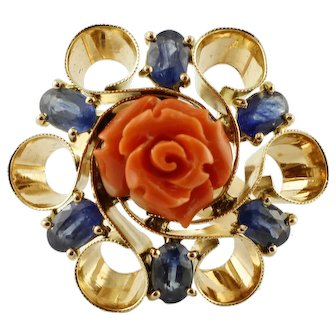 Blue Sapphires, Elatius Coral, 14k Yellow Gold Vintage Ring