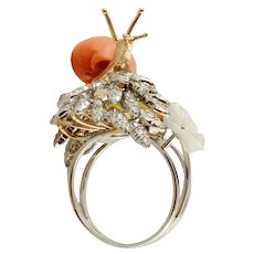 Diamonds, Coral, Mother-Of-Pearl, White & Yellow Gold Snail Ring