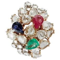 Handcrafted Fashion Ring 4.36 ct Emerald Blue Sapphire Ruby Drops, Diamonds, White/Rose Gold