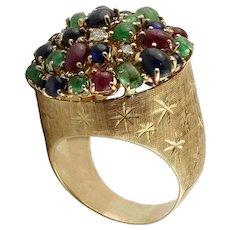 Sapphires Emeralds Rubies Diamonds 14k Rose Gold Cocktail Ring