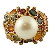 Diamonds, Sapphires,South Sea Pearl, 14k Yellow Gold Vintage Ring