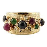 Diamonds, Emeralds, Rubies, Blue Sapphires, 14k yellow gold Vintage Ring