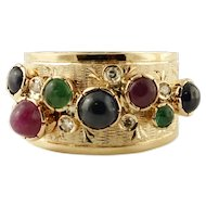 Diamonds, Emeralds, Rubies, Blue Sapphires, 14k yellow gold Vintage Ring