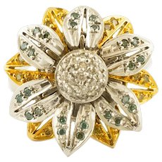 18k White and Yellow Gold and Fancy Diamonds, Daisy Ring