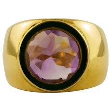 Big central Amethyst, 18k Yellow Gold Vintage Ring