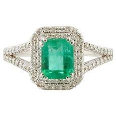 Handcrafted Engagement Ring Emerald, Diamonds, 18 Karat White Gold