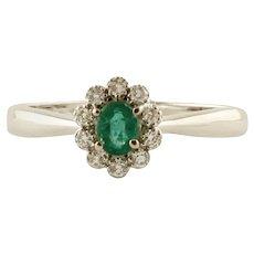 Emerald, Diamonds, 18 Karat White Gold Flower Ring