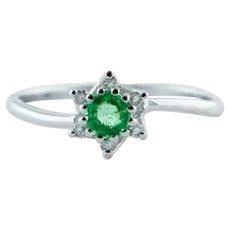 Diamonds, Emeralds, 18 Karat White Gold Flower-Shaped Ring