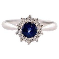 Handcrafted Blue Sapphire, Diamonds, 18 Karat White Gold Engagement Ring