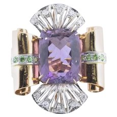 Handcrafted Ring Amethyst Diamond Tsavorite Rose and White Gold