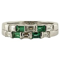 Handcrafted Diamonds, Emeralds, 18 Karat White Gold Double-Bands Ring
