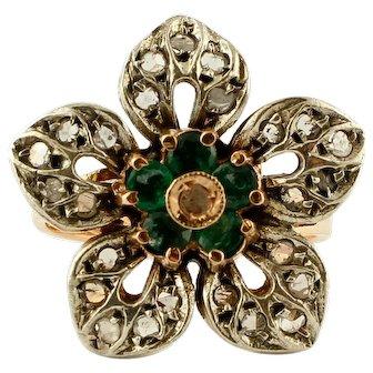 Diamonds, Emeralds, 14k Rose Gold and Silver Retro Flower Ring