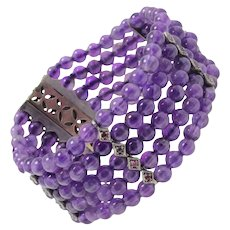Amethyst Beads Diamonds Rubies and Gold Bracelet