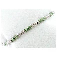 Diamonds and Tsavorite, White Gold Link bracelet