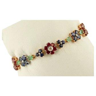 Diamonds, Rubies,Emeralds and Blue Sapphires 14k Rose gold Vintage Flower Bracelet