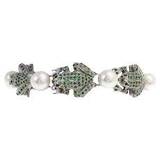 Tsavorite Garnet Pearl Silver Gold Link Bracelet