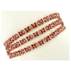 Diamonds, Rubies, 14k Rose Gold Vintage Bracelet