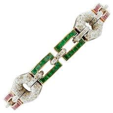 Diamonds, Rubies, Emeralds, 14k Yellow and White Gold Bracelet