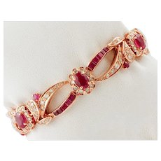 Retro bracelet in 14k rose gold structure studded with diamonds and rubies.