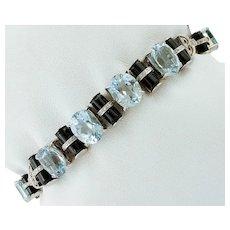 Aquamarine, Diamonds, Onyx, White Gold Link Bracelet
