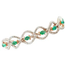 Emeralds and Diamonds, 9k Rose Gold and Silver Retro Bracelet