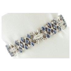 Diamonds, Sapphires, 14k White Gold Link bracelet