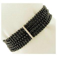Onyx, Diamonds, White Gold Beaded Bracelet