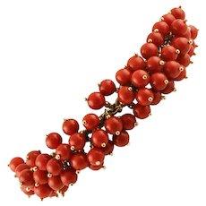 Red Corals Berries Link Bracelet