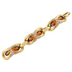 Coral, Onyx, Diamonds, 18k Yellow Gold Retro Bracelet