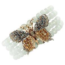 Aquamarine beads, Diamonds, Colored Sapphires 14k white & Rose Gold Bracelet