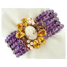 Amethyst, Diamonds, Topazes, Garnets, Cameo, Pearls Beaded Bracelet