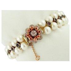 Pearls, Garnets, Zircons, 9k Rose Gold and Silver Bracelet