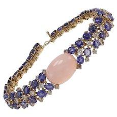 Diamond Sapphire Coral Retro Gold Bracelet