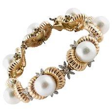 Diamonds and Australian Pearls Beaded gold Bracelet