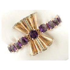 Amethyst, Topaz, Diamonds, Rose Golf Bow Bracelet