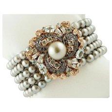 Grey Pearls, Black and White Diamonds, Aquamarine, Rose Gold Beaded Bracelet.