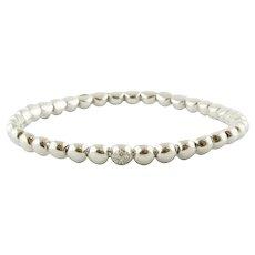 Diamonds and 18k White Gold Beaded Bracelet
