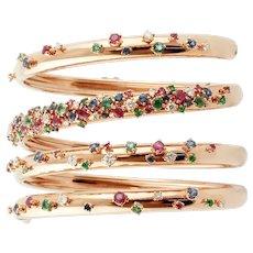 Diamonds, Rubies, Emeralds, Sapphires, 18k Yellow Gold Spiral Bangle Bracelet