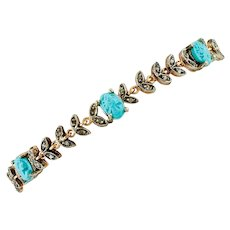 Carved Turquoise, Diamonds, Rose Gold and Silver Retro Bracelet